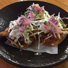 Woohoo! It\'s Tostada Tuesday! Guajillo Chicken Tostadas  BeansCrema salsa roja queso pickled onions 3 for 6.50$  #tostadatuesday  @boca31.denton  #boca31 #chefandresmeraz #dentonslacker #dealoftheday #lunchspecial #denton #dentontexas #dentontx #dentoning #wedentondoit #wddi #unt #twu #dentonite #doingitdenton #dentonproud