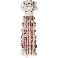 Valentino beaded and feathered embroidered gown (1.000.635 RUB) ❤ liked on Polyvore featuring dresses, gowns, valentino, long dresses, beaded dress, embroidery dress, long brown dress and beaded gown