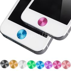 1X Aluminium Metal Home Button Sticker Decal Multi-color for iPhone 4 4S 5S 5C