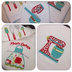 """""""Kitchen towels I made for our Kitchen ❤️ I love it!!! Still a lot to do for this set! #red #teal #lime #white #kitchen #towelset #mixer #apron #utensils…"""""""