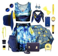 """*Starry Starry Night*"" by miki-delight ❤ liked on Polyvore featuring London Road, Carolee, B Brian Atwood, Sophie Hulme, MAISON MICHEL PARIS, Brahmin, Organic Glam, Jean Patou, Wet n Wild and NARS Cosmetics"