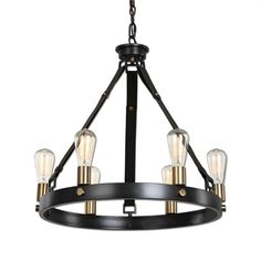 Light fixture above game table. Dark bronze with leather straps