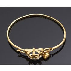 Juicy Couture B-royal Crown Bangle ($99) ❤ liked on Polyvore featuring jewelry, bracelets, gold, hook bracelet, heart charms, crown bracelet, hinged bracelet and bracelets & bangles