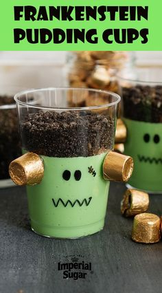 Frankenstein Pudding Cups-These ghoulishly green Frankenstein pudding desserts will be the talk of your Halloween party. From the caramel candy plugs on his head, to his crazy, crumbly cookie crumb hair - kids and adults alike will love this fun treat. Great for school and neighborhood parties and back to school fall snacks as well.