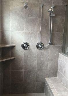 Heathland White Rock X Tile Installed Stacked In Garden - 12x12 tile shower walls