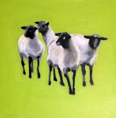 Meet the Suffolkers, painting by artist edith dora rey like the color and the floating in the middle of the painting! Sheep Paintings, Animal Paintings, Acrylic Paintings, Art Paintings, Suffolk Sheep, Sheep Illustration, Baa Baa Black Sheep, Sheep Art, Art Painting Gallery