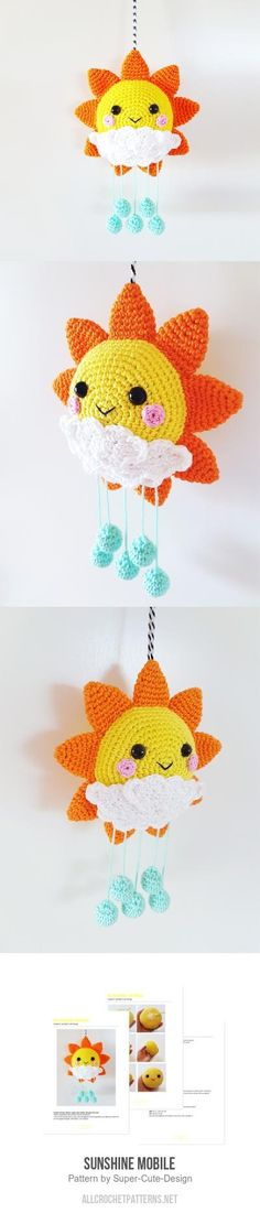 Sunshine Mobile Crochet Pattern ~ 13 cm x 20 cm ~ PURCHASED pattern - CROCHET