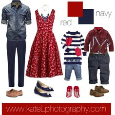 family photo outfits Red + Navy // summer and spring family photo outfit inspiration, created by Kate Lemmon Family Picture Colors, Family Picture Outfits, Summer Family Pictures, Family Pics, Christmas Pictures, Family Portrait Outfits, Family Portraits, Family Photos What To Wear, Family Pictures