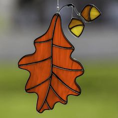 Stained glass fall leaf suncatcher, stain glass acorn ornament, red oak leaf on Etsy