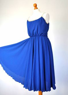 Vintage Electric blue Gold Dress French 70s 80s Disco Full Circle Skirt Size 12