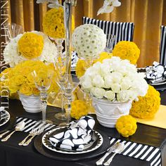 black and white wedding flowers, black and white wedding decor, black wedding flower centerpiece, wedding flower arrangement, add pic source on comment and we will update it. Wedding Centerpieces, Wedding Decorations, Table Decorations, Yellow Decorations, Centrepieces, Yellow Wedding Colors, Yellow Weddings, Yellow Flowers, Do It Yourself Wedding