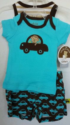 Infant Crawler 6-9 Mo 3pc Outfit Set Monkey Cars Turq Brown Shorts Tank Top T-  #Carters #Everyday