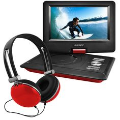 "Ematic 10"" Portable DVD Player Swivel Screen with Matching Headphones & Car Headrest Mount (Red)"