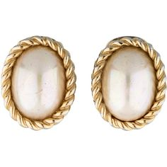 Pre-owned Christian Dior Faux Pearl Clip-On Earrings ($75) ❤ liked on Polyvore featuring jewelry, earrings, accessories, cable jewelry, clip back earrings, faux pearl clip on earrings, gold colored earrings and fake pearl earrings