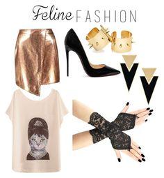 """Feline Fashion"" by fashiongirl24-7 ❤ liked on Polyvore featuring Boohoo, Christian Louboutin, Yves Saint Laurent and felinefashion"