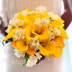 modern bouquet - Yellow calla lilies, white freesias and platinum-colored ribbon