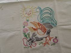 Vintage Embroidered Tea Towel  Rooster by LittleCabinDryGoods 8