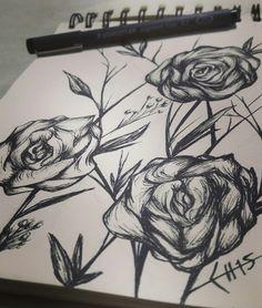 Floral  #drawing, #blackartwork, #inkart, #texture, #staedtler, #tattooart, #sketch, #sketchart, #blackandwhite