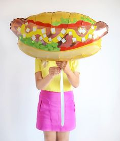 32'' Hotdog Printed Foil Party Balloon with Satin Ribbon