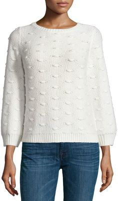 Rebecca Taylor Long-Sleeve Popcorn Pullover Sweater, Chalk