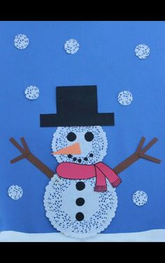 Easy Doily Snowmen for Winter: I used wiggly eyes and real buttons on this project with Kindergarteners.  The snowflakes were cut out of a large lace doily.