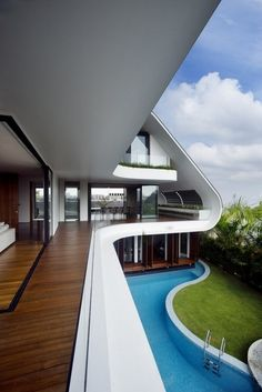 I Love Unique Home Architecture. Simply stunning architecture engineering full of charisma nature love. The works of architecture shows the harmony within. Architecture Design, Residential Architecture, Amazing Architecture, Singapore Architecture, Contemporary Architecture, Modern Mansion, House Goals, Home Fashion, My Dream Home