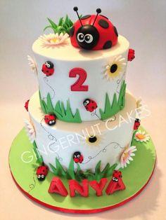 Milk chocolate fudge cake and vanilla cake. Ladybugs made from modelling chocolate. Ladybug Cakes, Owl Cakes, Ladybug Party, Fondant Cakes, Cupcake Cakes, Fruit Cakes, Lady Bug, Girly Birthday Cakes, Ladybird Cake