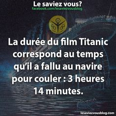 Le saviez vous ? Fact Quotes, Words Quotes, Good To Know, Did You Know, Titanic Film, Ah Ok, Funny Fun Facts, Tv Show Music, Image Fun