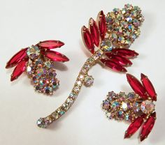 Vintage Red Rhinestone Flower Bud Jewelry Set by GretelsTreasures