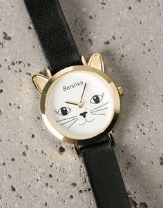Reloj doble vuelta esfera cara gatito