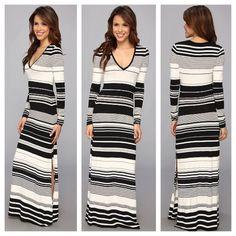 BCBGMaxAzria 'Calypso' Maxi Dress- M BCBGMaxAzria 'Calypso' Knit Blk/Whit Maxi Dress..v-neckline...long sleeve..left side slit...new wit tags..never worn..Medium BCBGMaxAzria Dresses Maxi
