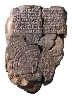 The Babylonian World Map, the earliest surviving map of the world (c. 600 BCE). It is a symbolic, not a literal representation. It deliberately omits peoples such as the Persians and Egyptians, who were well known to the Babylonians. The area shown is depicted as a circular shape surrounded by water, which fits the religious image of the world in which the Babylonians believed.