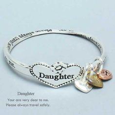 "Womens Silver Bracelet, Daughter Bangle Bracelet, Silver / Gold / Copper, You are Dear To me, Travel Safely, 2 1/2"" Diameter WT001 http://www.amazon.com/dp/B006EB5JUK/ref=cm_sw_r_pi_dp_Bdg-vb153FVKH"