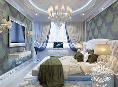 Дизайн интерьера спальни в стиле Ар Деко в ЖК Фортепьяно