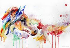 Found on Tumblr. Horses were such a big part of my life, and I love the watercolor effect. Possible future tattoo?