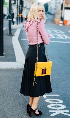 Ruffle sweater + pleated skirt