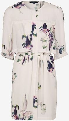 French Connection White Water Flower Drape Tie Dress