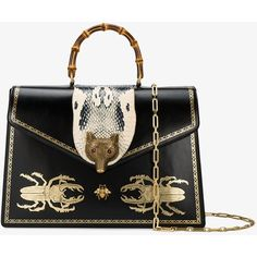 Gucci Broche beetle print top handle bag ($4,780) ❤ liked on Polyvore featuring bags, handbags, leather handbag tote, leather tote purse, gucci handbags, genuine leather handbags and leather handbags