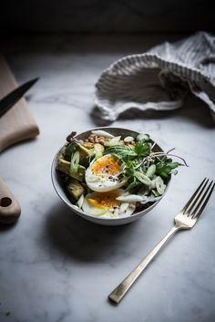 Local Milk   farro avocado breakfast bowl + sumac miso vinaigrette:
