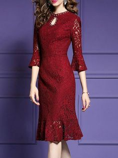 Elegant Dresses Classy, Classy Dress, Simple Dresses, Pretty Dresses, Dresses With Sleeves, Casual Dresses, Dress Brukat, Midi Dresses, Lace Dresses