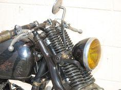 Garage Company Built This Custom Bike for Soccer Player David Beckham. Harley Fatboy, Harley Davidson Knucklehead, Harley Bobber, Bobber Chopper, Softail Bobber, Bobber Bikes, Bobber Motorcycle, Vintage Cafe Racer, Vintage Bikes