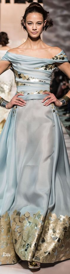 Not crazy about the gold embellishments, but love the color and drape of this dress. A variation of this would make a lovely bridesmaid dress. GEORGES CHAKRA Spring-Summer 2015 COUTURE