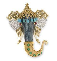 a multi-gem enamel & gold elephant brooch by Jean Schlumberger, Tiffany & Co Elephant Jewelry, Animal Jewelry, Jewelry Art, Vintage Jewelry, Fine Jewelry, Jewelry Design, Trendy Jewelry, Diamond Earing, Diamond Brooch