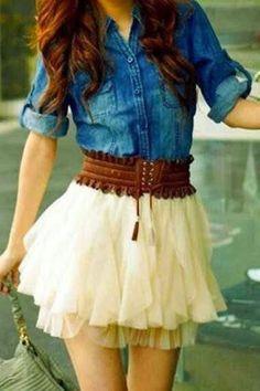 Cheap Fashion Nice Vintage Denim Gauze Skirt Dress For Big Sale!Fashion Nice Vintage Denim Gauze Skirt Dress have wonderful design. Cute Fashion, Look Fashion, Teen Fashion, Womens Fashion, Skirt Fashion, Fashion Outfits, Fashion Clothes, High Fashion, Fashion 2015