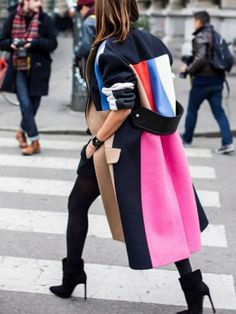 Fashion Color Matching Lapel Wool Coat – jollyluva canel coat coat style sweater coats outfit how to wear coats Street Style Chic, Looks Street Style, Street Look, Street Wear, Trend Fashion, Look Fashion, Womens Fashion, Net Fashion, Fashion Coat
