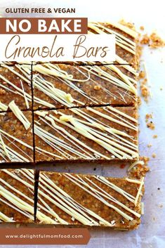 Grab your favorite peanut butter or nut butter, maple syrup, and quick oats for a chewy, homemade granola bar recipe that's easy, gluten free, and vegan! These no bake bars are packed with 14 grams of healthy protein and accented with cozy fall spices and a white chocolate drizzle that makes for a delicious breakfast or snack! #nobakegranolabars #healthygranolabars #nobakebars #diyproteinbars #vegansnacks #glutenfreegranolabars No Bake Granola Bars, Healthy Granola Bars, Homemade Granola Bars, Yummy Healthy Snacks, Vegan Snacks, Easy Snacks, Snack Recipes, Gluten Free Appetizers, Gluten Free Snacks