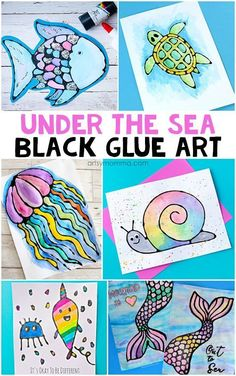 Combine black glue with watercolors to make gorgeous Ocean Art!