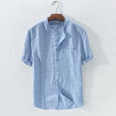 Mens Cotton Breathable Vintage Chinese Style Solid Color Loose Casual Buttons T Shirts on sale-NewChic Yoga Fashion, Denim Fashion, Cool Shirts, Casual Shirts, Casual Outfits, White Shirt Men, Men Shirt, Sewing Shirts, Indian Men Fashion