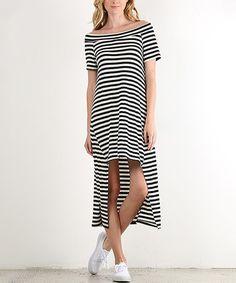 Look what I found on #zulily! Black Stripe Hi-Low Dress - Plus by J-Mode USA Los Angeles #zulilyfinds