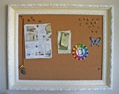 Recycle a frame and make it into a notice board for your home. Would put ribbons across, too.